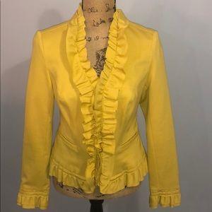 INC Ruffled Yellow/Gold Blazer Size Small